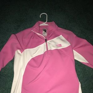 Pink and white north face long sleeve